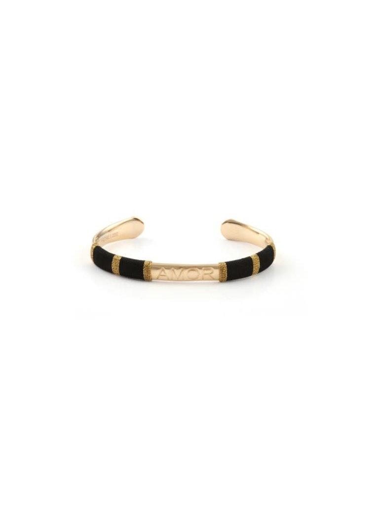 Pscallme Copy of Pscallme Bangle Rope Love black goldplated armband