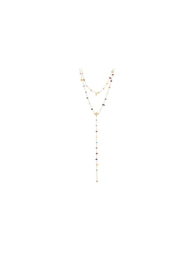 Pscallme Pscallme Multicolor stones clover goldplated ketting
