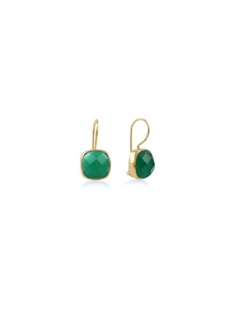 Pscallme Pscallme Stone smaragd goldplated oorbellen