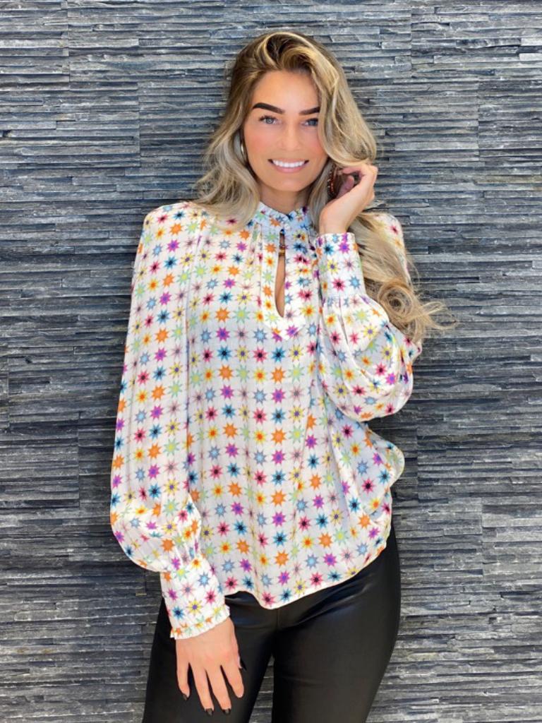 Est'seven Est'Seven Etoile blouse wit rainbow star