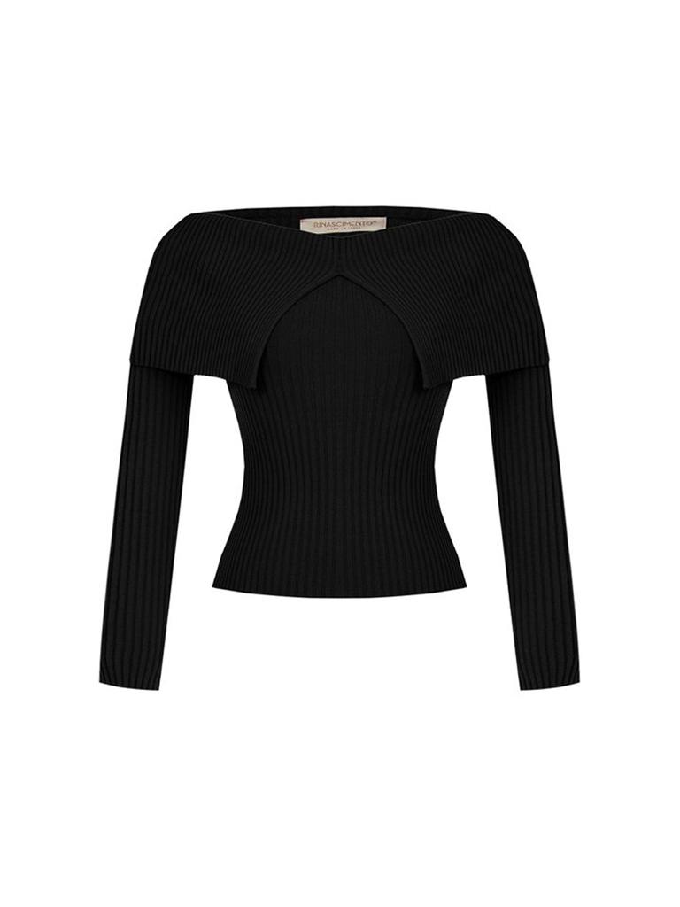 Rinascimento Rinascimento off shoulder tricot top zwart