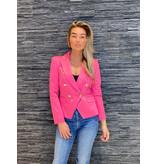 Rinascimento Rinascimento double-breasted blazer met goudkleurige knopen roze