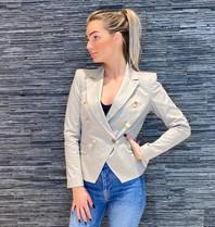 Rinascimento Rinascimento double-breasted blazer met goudkleurige knopen beige