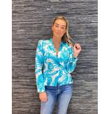 Rinascimento Rinascimento double-breasted blazer met palmprint blauw wit