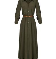 Rinascimento Rinascimento midi jurk met ceintuur legergroen
