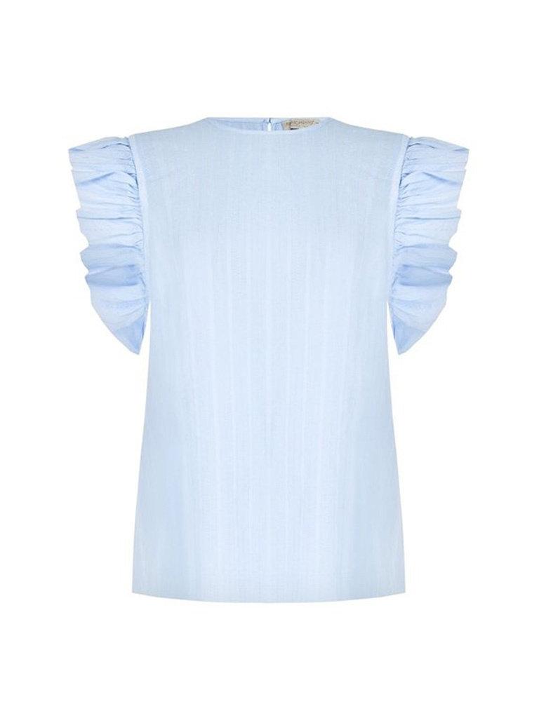 Rinascimento Rinascimento blouse met textuur en volants blauw