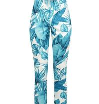 Rinascimento Rinascimento pantalon met palmprint wit blauw