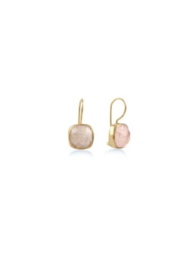 Pscallme Pscallme stone rose quartz oorbellen