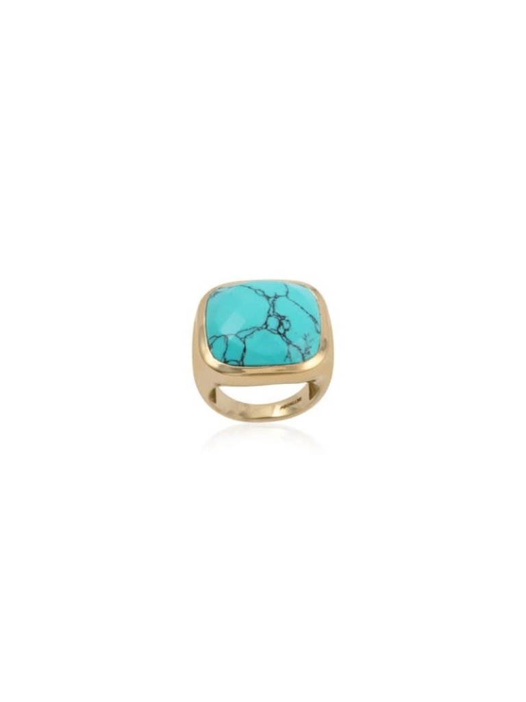 Pscallme Pscallme Ring Stone Turquoise Goldpleated