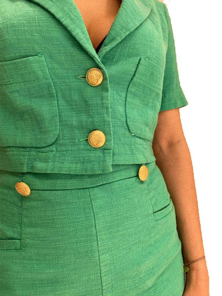 Rinascimento Rinascimento cropped blazer met goudkleurige knopen groen