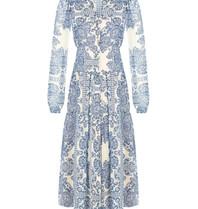 Rinascimento Rinascimento maxi jurk met v-hals en print blauw wit