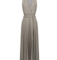 Rinascimento Rinscimento geplooide maxi jurk met lurex details beige