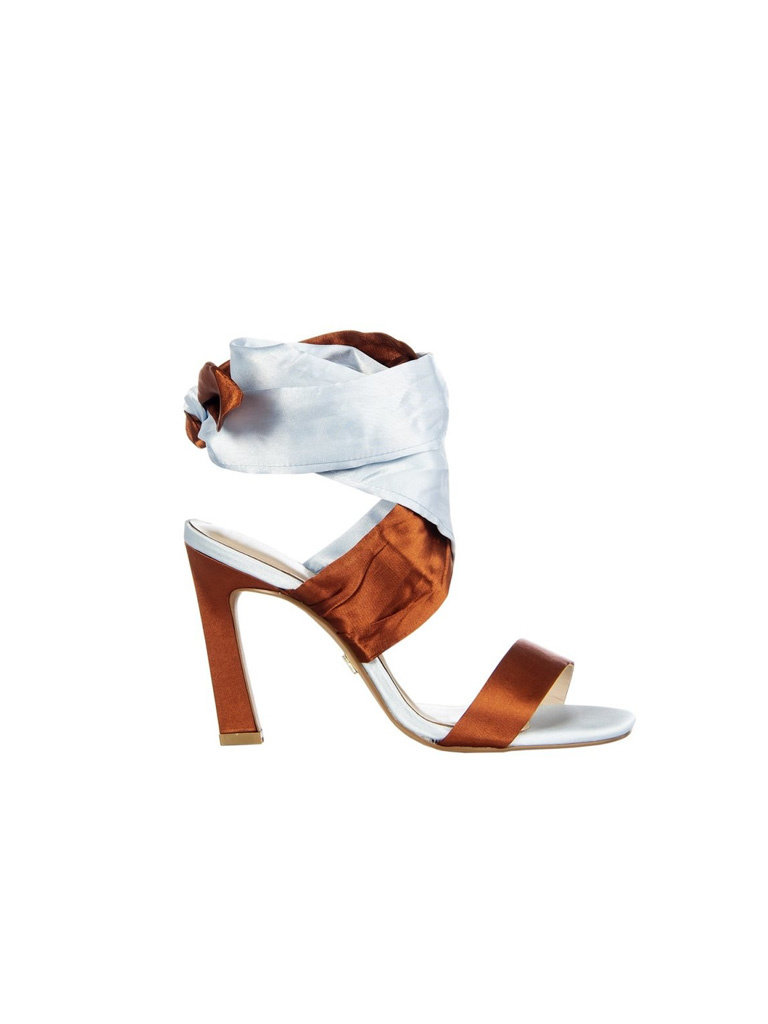 Rinascimento Rinascimento silk strappy heels lichtblauw