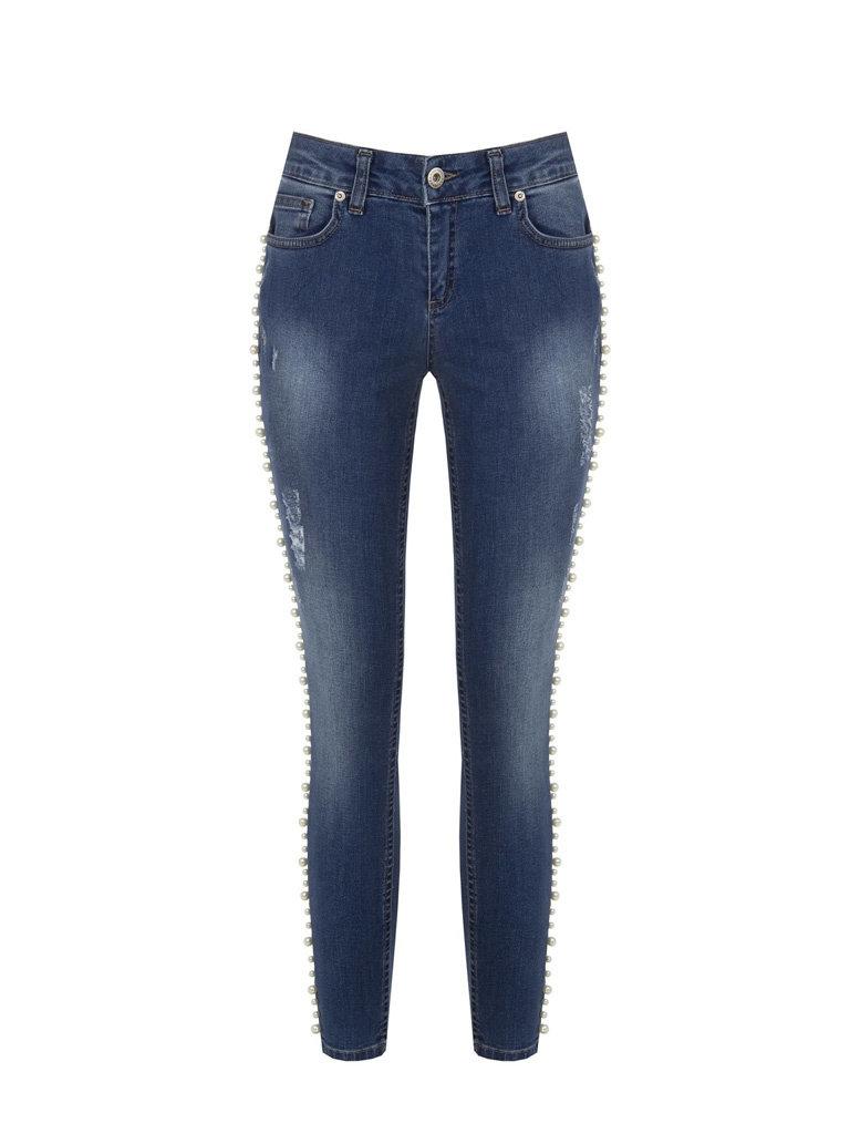 Rinascimento Rinascimento jeans met parel details blauw