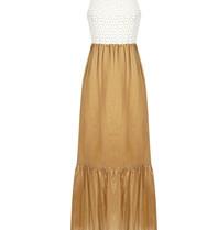 Rinascimento Rinascimento maxi jurk met geborduurde details beige