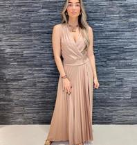 Rinascimento Rinscimento geplooide maxi jurk met lurex details roze