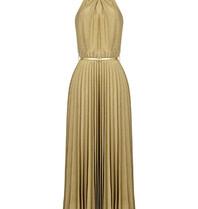 Rinascimento Rinascimento halter maxi jurk met ceintuur en lurex details goud