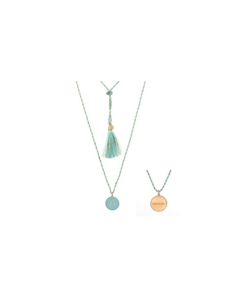 Pscallme Pscallme Enamel turquoise initial A goldplated ketting
