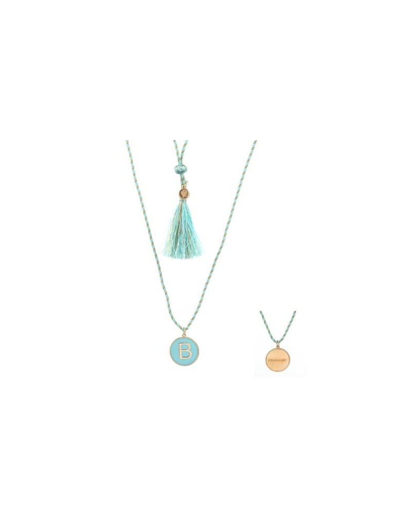 Pscallme Pscallme Enamel turquoise initial B goldplated ketting