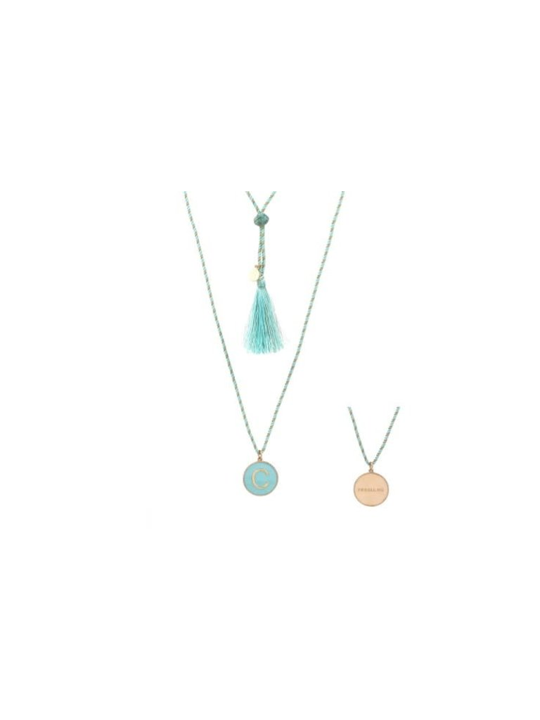 Pscallme Pscallme Enamel turquoise initial C goldplated ketting