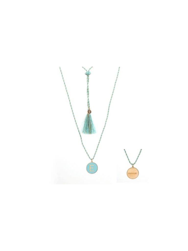 Pscallme Pscallme Enamel turquoise initial E goldplated ketting