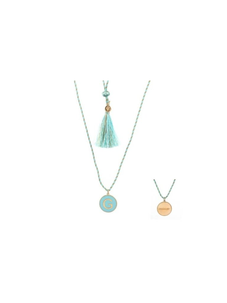 Pscallme Copy of Pscallme Enamel turquoise initial F goldplated ketting