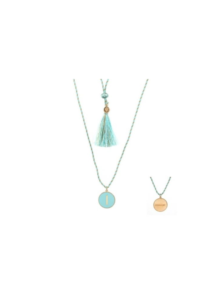 Pscallme Pscallme Enamel turquoise initial I goldplated ketting