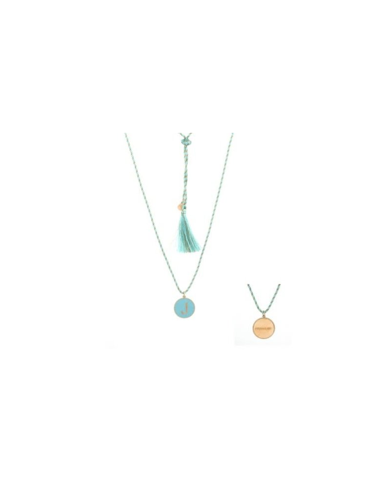Pscallme Copy of Pscallme Enamel turquoise initial G goldplated ketting