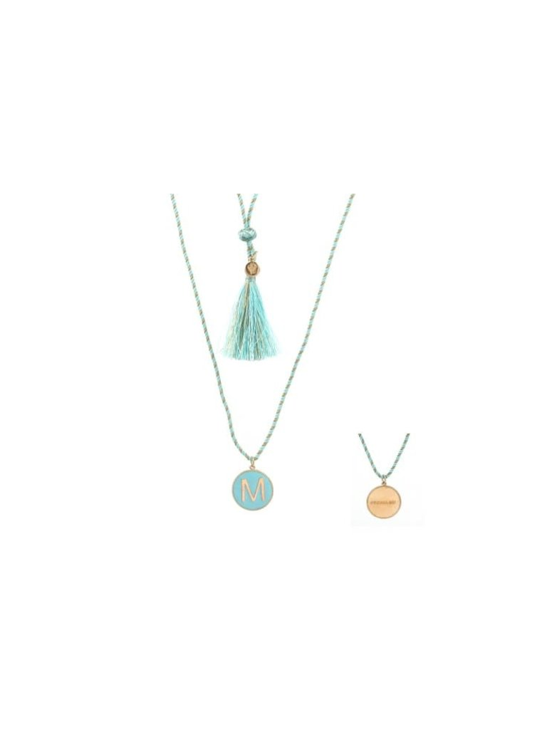 Pscallme Copy of Pscallme Enamel turquoise initial L goldplated ketting