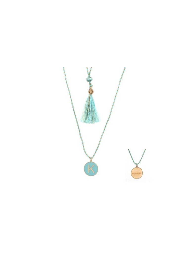 Pscallme Pscallme Enamel turquoise initial K goldplated ketting