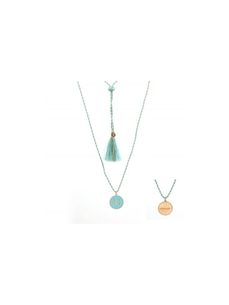 Pscallme Pscallme Enamel turquoise initial N  goldplated ketting