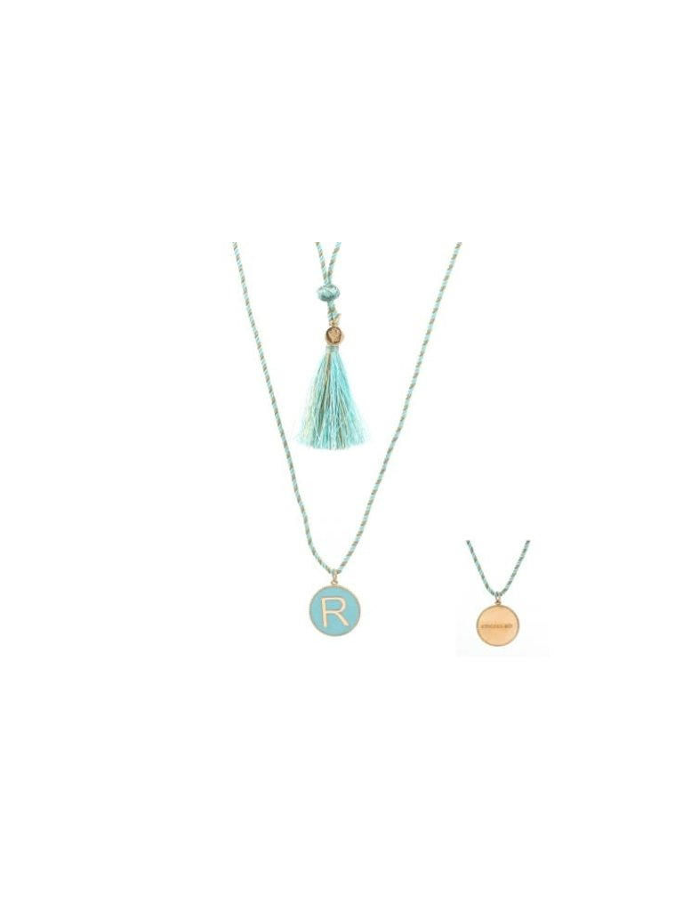 Pscallme Copy of Pscallme Enamel turquoise initial N  goldplated ketting