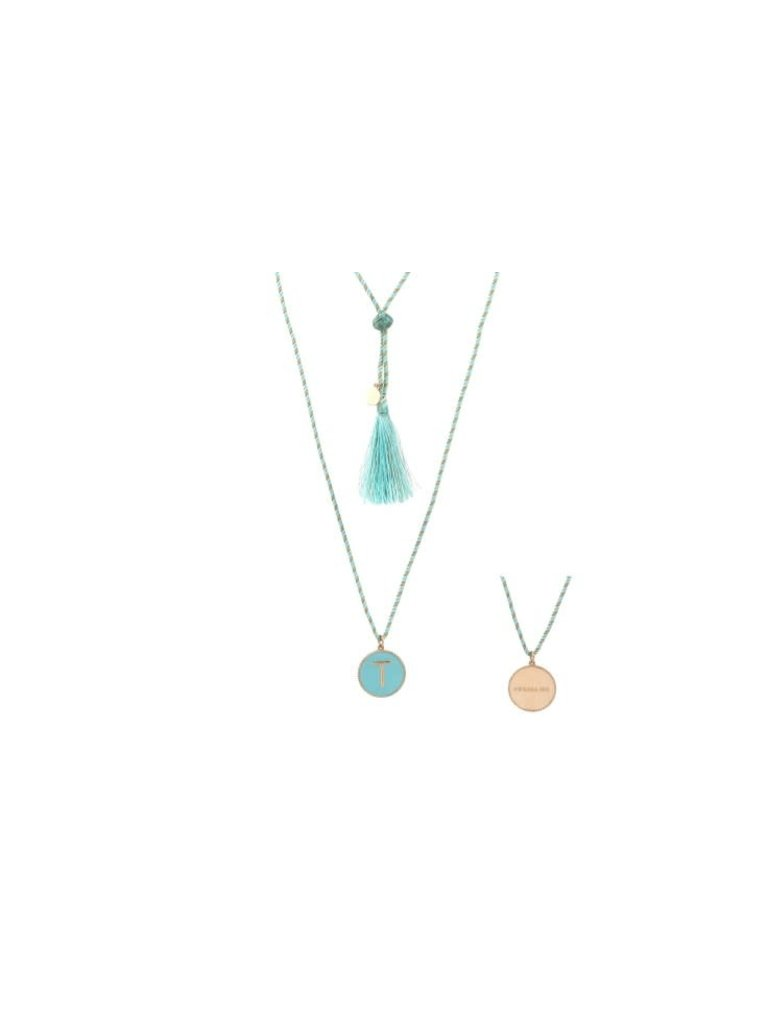 Pscallme Pscallme Enamel turquoise initial T goldplated ketting