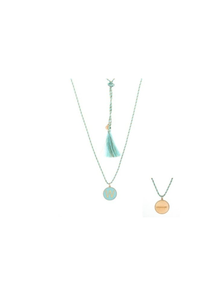 Pscallme Pscallme Enamel turquoise initial W goldplated ketting