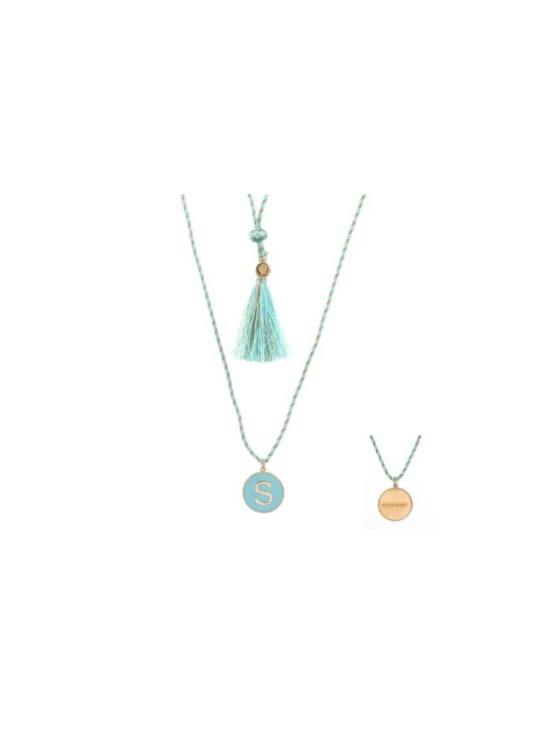 Pscallme Copy of Pscallme Enamel turquoise initial S goldplated ketting