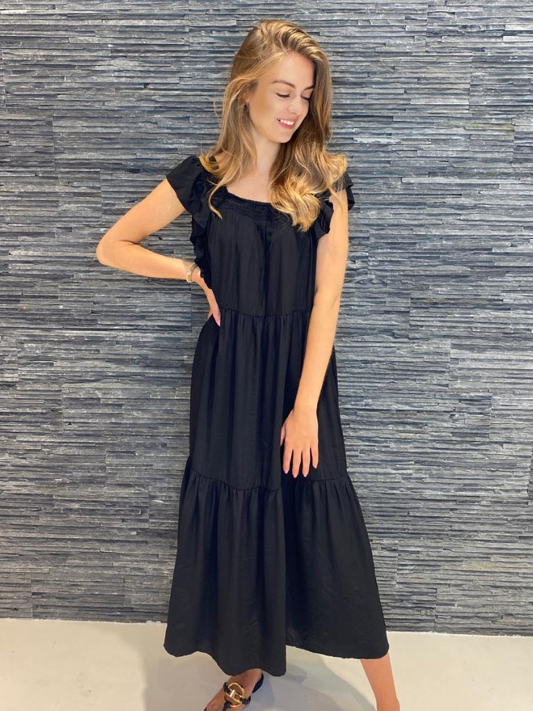 Co'couture Co'Couture Sunrise smock midi jurk zwart