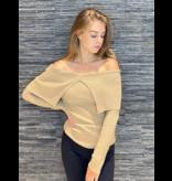 Rinascimento Rinascimento off shoulder tricot top beige