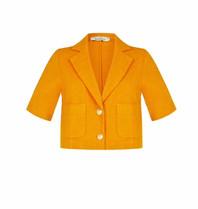 Rinascimento Rinascimento cropped blazer met goudkleurige knopen oranje