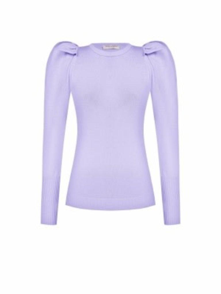 Rinascimento Rinascimento tricot top met pofmouwen lila