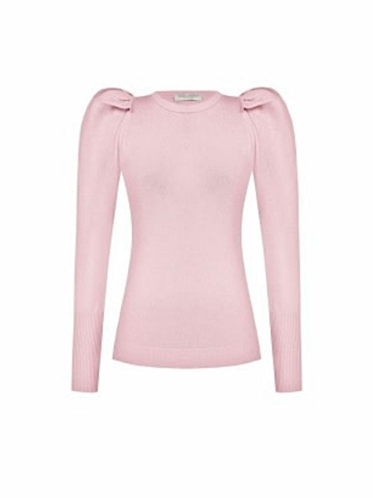 Rinascimento Rinascimento tricot top met pofmouwen roze