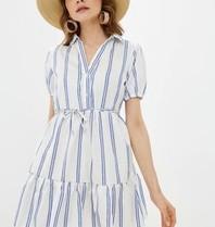 Rinascimento Rinascimento mini jurk met strepenprint wit blauw