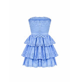 Rinascimento Rinascimento strapless broderie jurk blauw