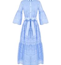 Rinascimento Rinascimento midi jurk met broderie en ceintuur blauw