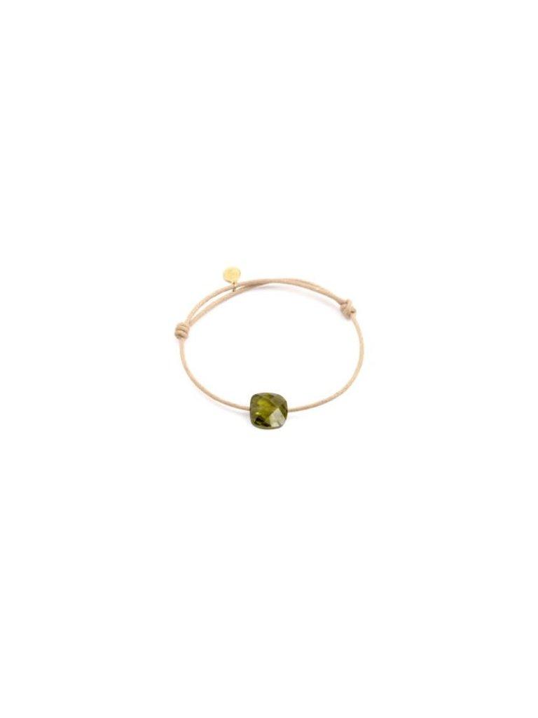 Pscallme Pscallme koord armband met green shine stone