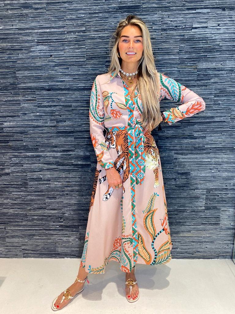 Est'seven Est'Seven Tiger maxi dress roze