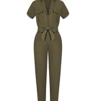 Rinascimento Rinascimento jumpsuit met ceintuur army groen