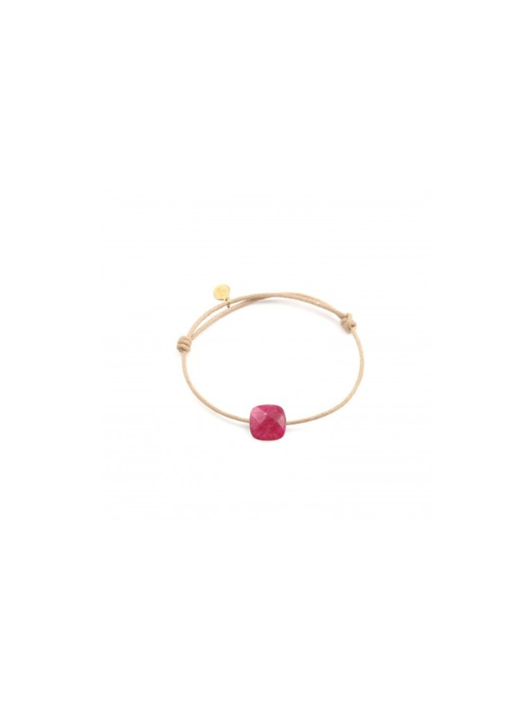 Pscallme Pscallme koord armband met ruby steen