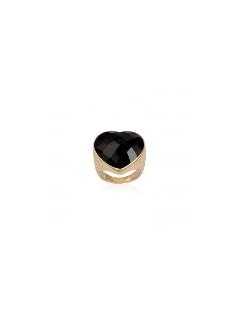 Pscallme Pscallme Ring heart stone onyx goldplated
