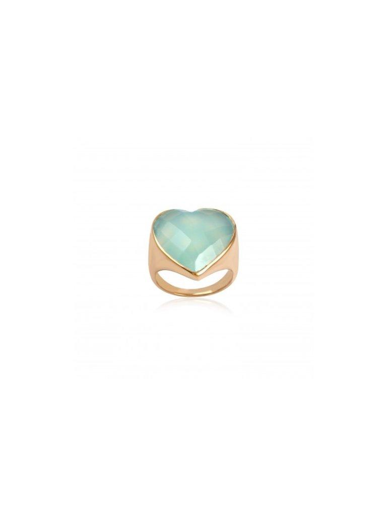 Pscallme Pscallme Ring heart stone amazonite goldplated