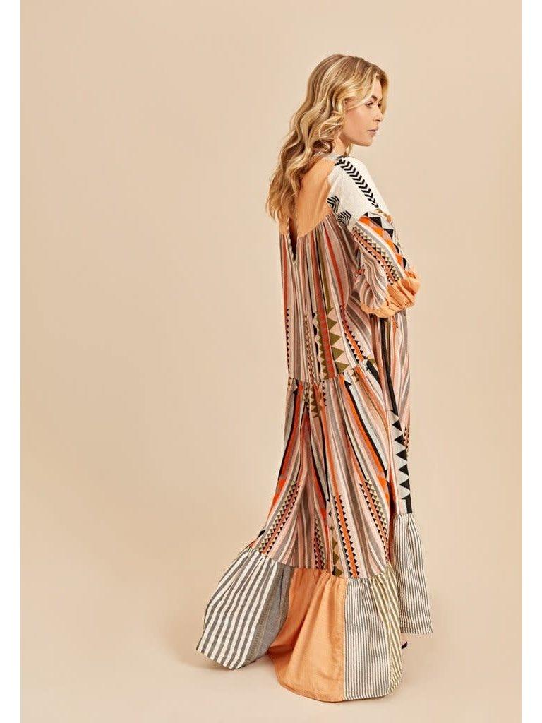 Devotion Devotion Long Dress Pastiano khaki multicolor